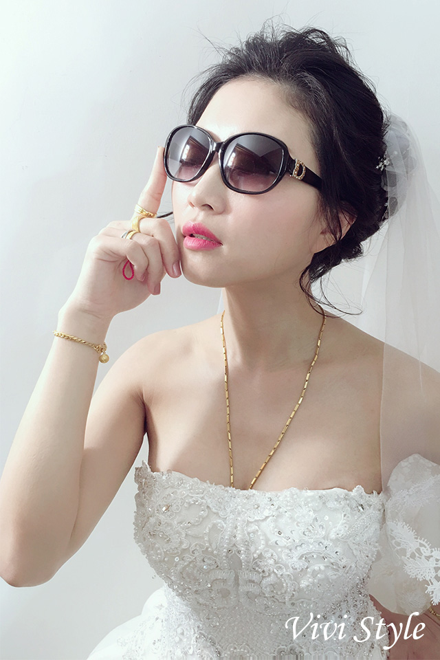 台北新秘,台中新秘,黑髮,短髮,白紗造,花苞頭型